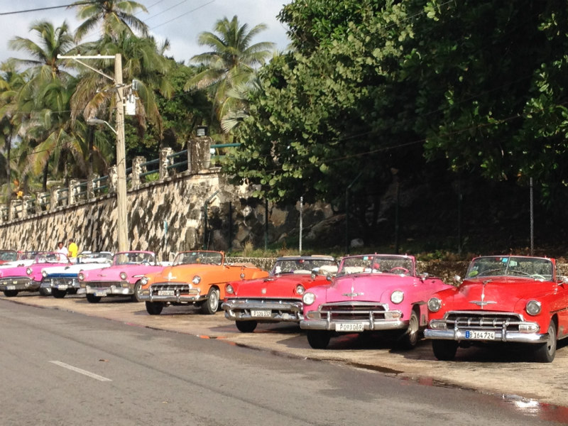 "Just a few of the iconic ""Yank tanks"" still running in Havana, complete with musical horns and diesel fuel."