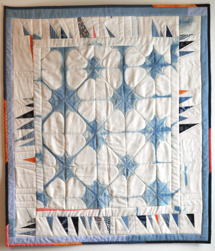 "Shibori baby quilt, 30""x35""  Organic cotton sateen and commercial cottons. Indigo, clamp resist Shibori technique."