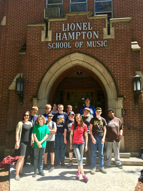 Ms. Boysen-Taylor with her entire class in front of the music building at the University of Idaho. Here, they attended an Opera Workshop, studying several operas based on  A Midsummer Night's Dream.