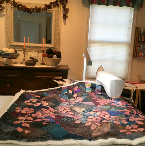 First day of machine quilting. Two full days, total.
