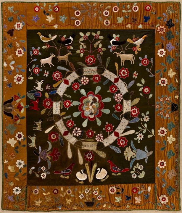American Folk Art quilt, artist unknown, 1825-1845. Wool, silk, cotton, applique, beading and embroidery. Photo by Gavin Ashworth for the   American Folk Art Museum .