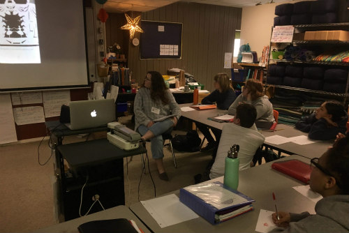 Mrs. Boysen-Taylor's class watching the second of three videos I put together for them.