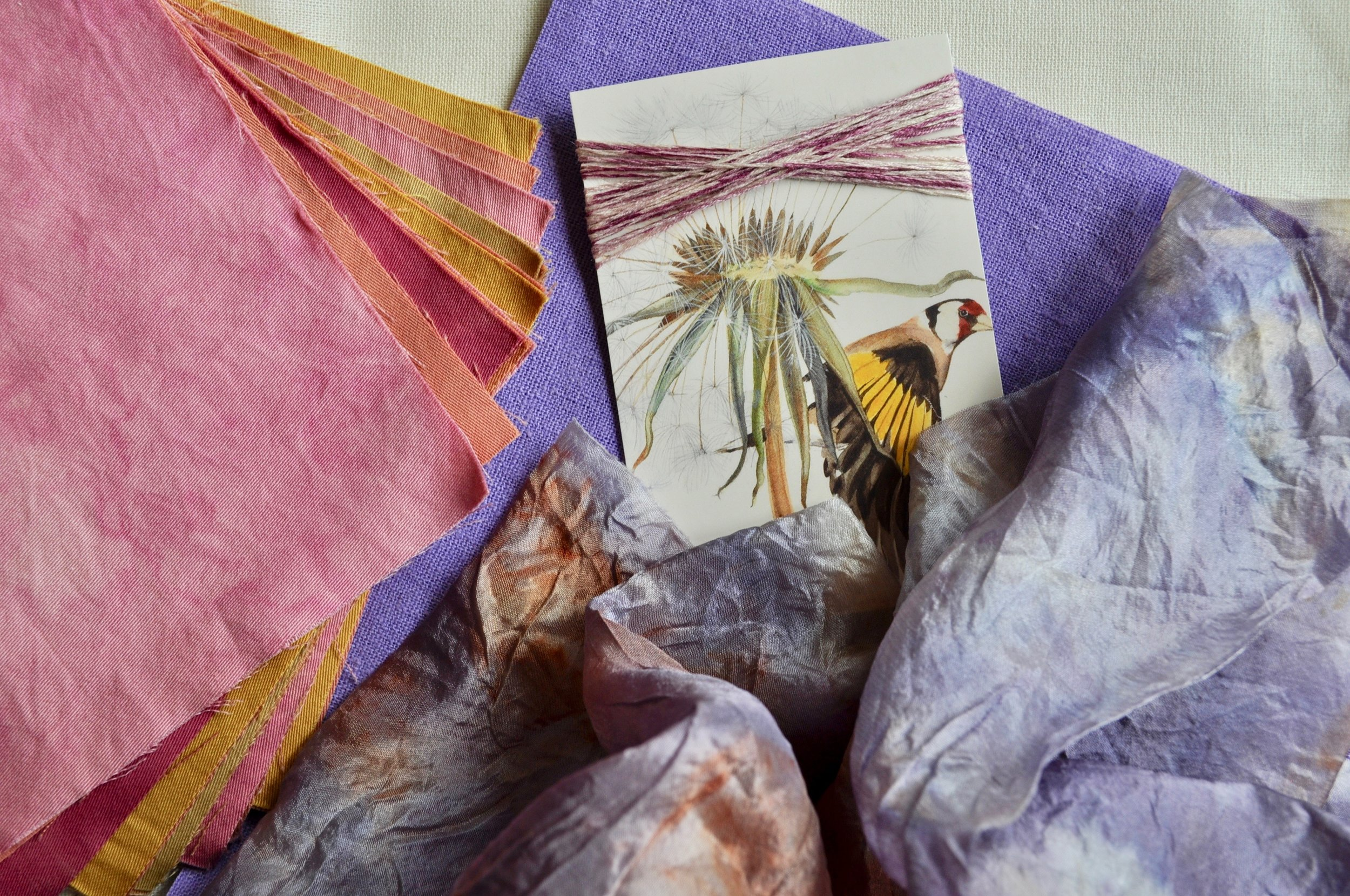 Naturally dyed silk and organic sateens, linen and silk-cotton floss to inspire Spring-worthy stitching!