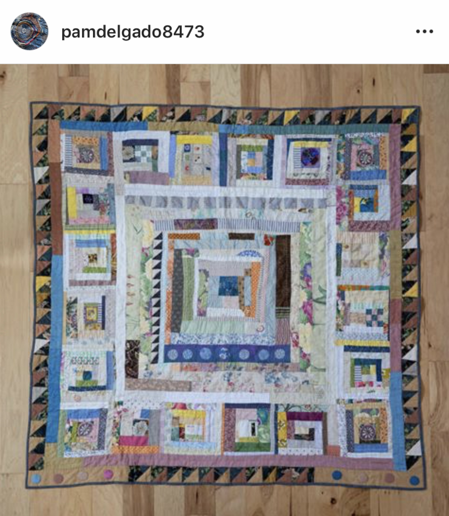 Improvisational log cabin quilt by Pam Delgado, 2019