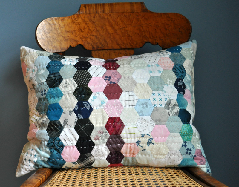 Hexagon Harmony pillow EPP kit, available with or without the book, Wabi-Sabi Sewing by Karen Lewis.
