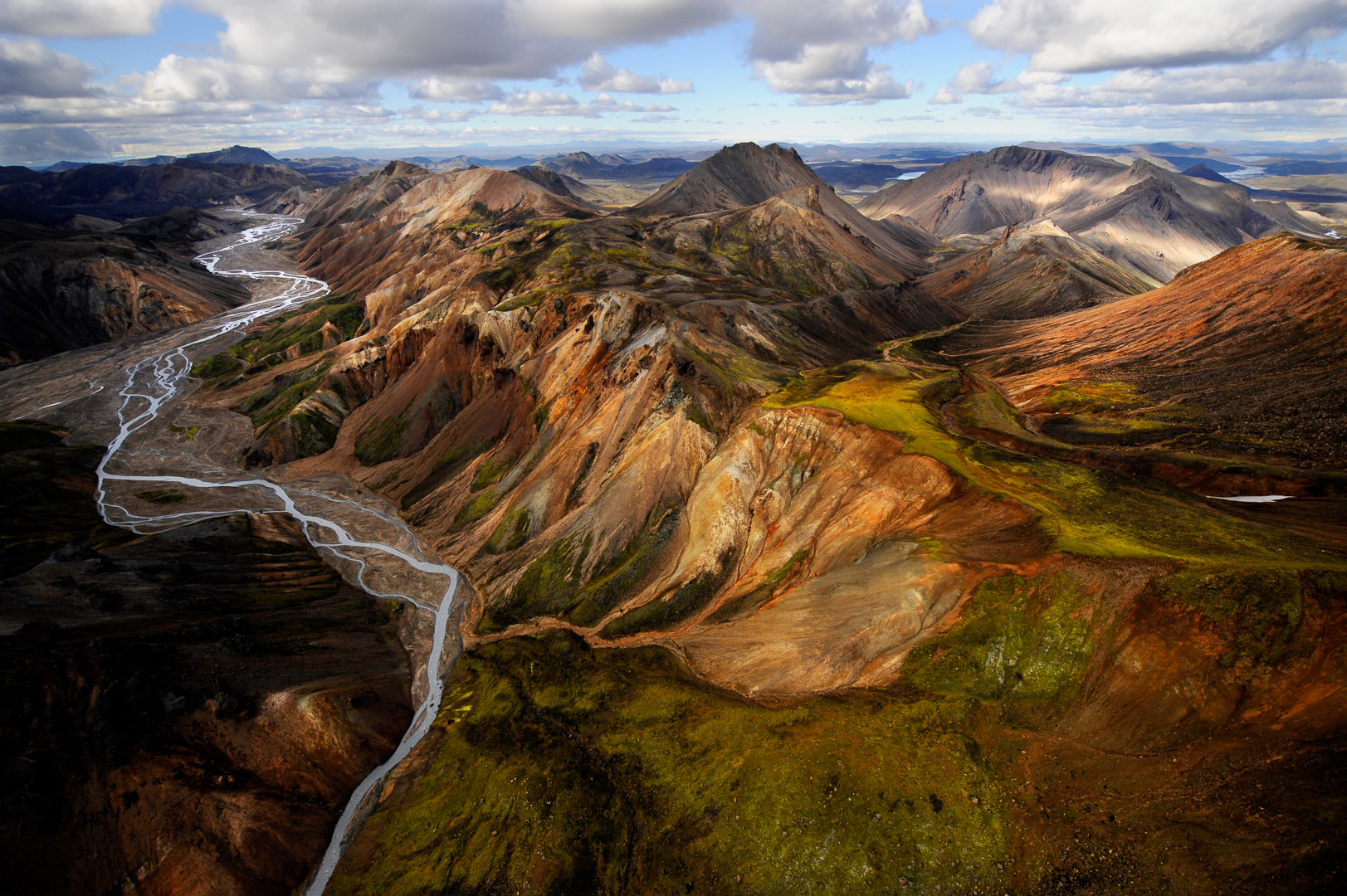 Landmannalaugar's volcanic landscape, Iceland in afternoon light from a helicopter. One of my favorite spots and a creative haven for any photographer.