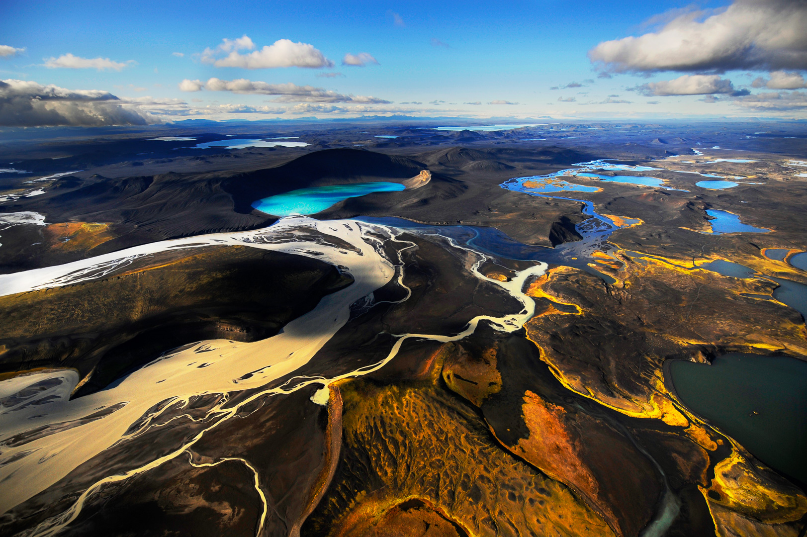Landmannalaugar photographed from a helicopter. Mindboggling region brimful with geological elements.