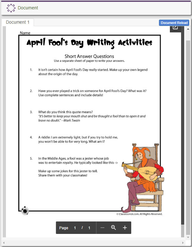 April Fool's Day Writing Activities