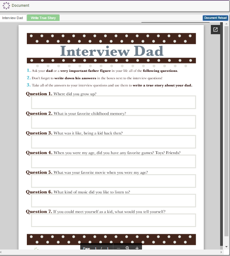 Interviewing Dad for Father's Day Story