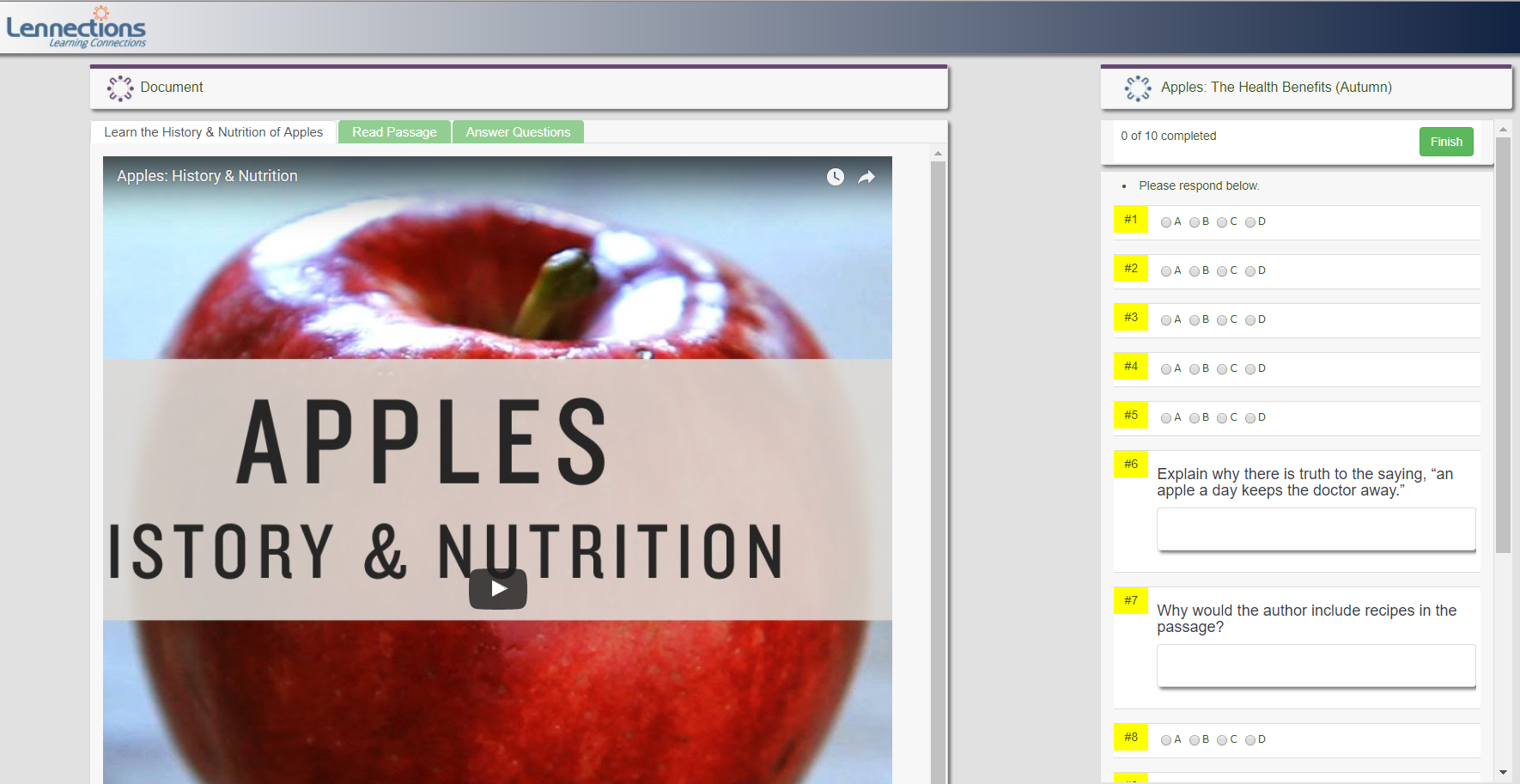 Multiple tabs allow activities to contain educational videos, reading passages, questions, and additional support documents.
