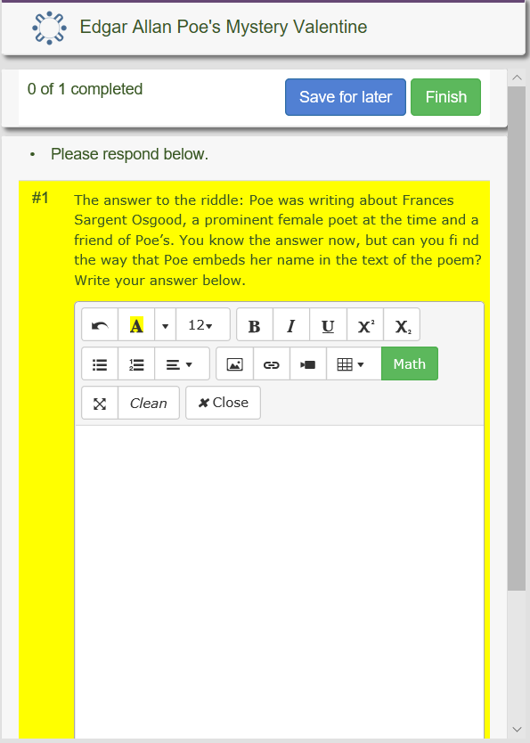 Constructed Response in HTML editor.