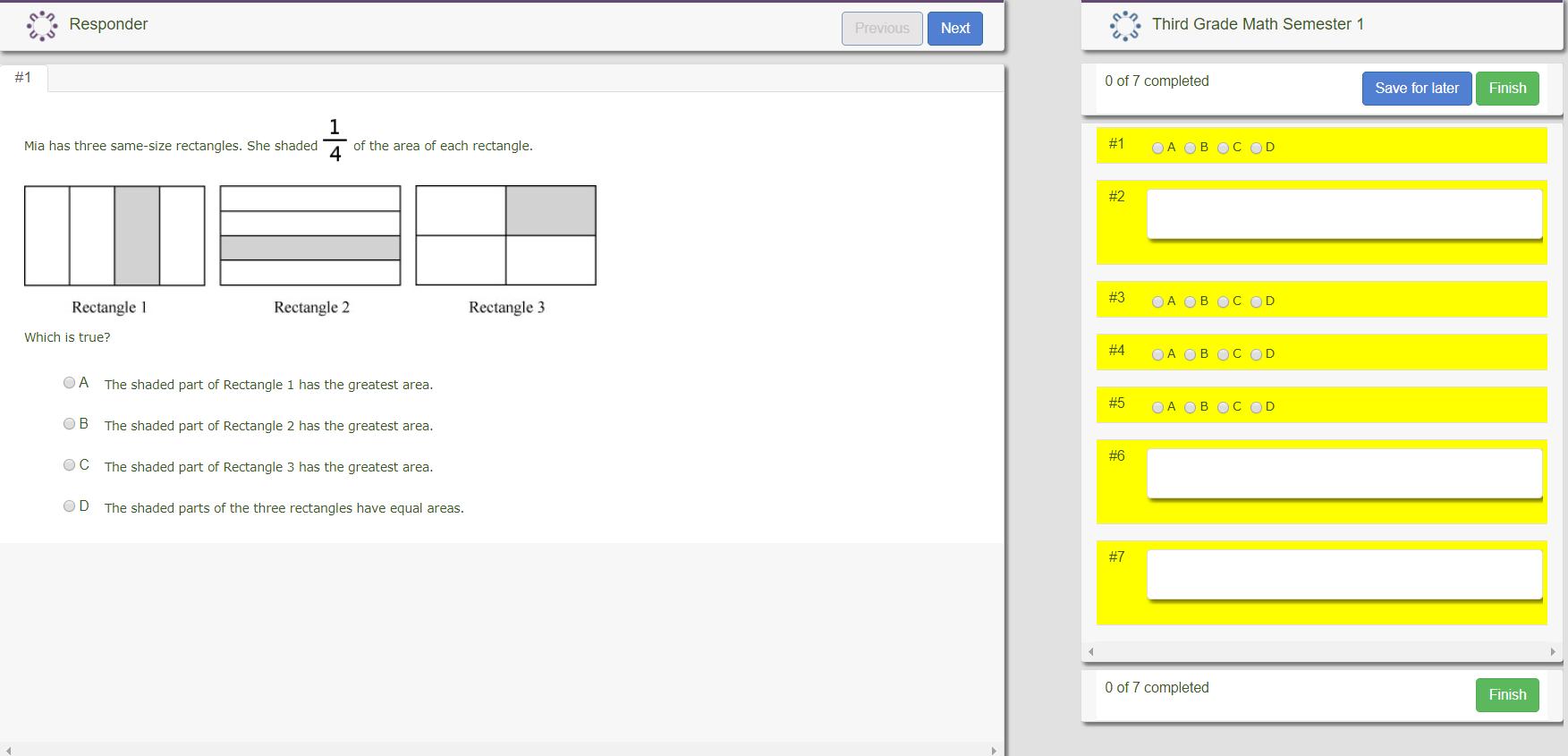Third grade math activity