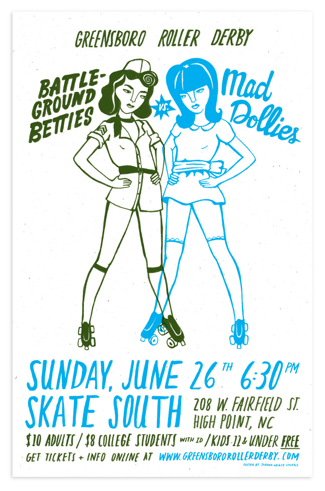 Poster illustration and hand-lettering for the Greensboro Roller Derby.