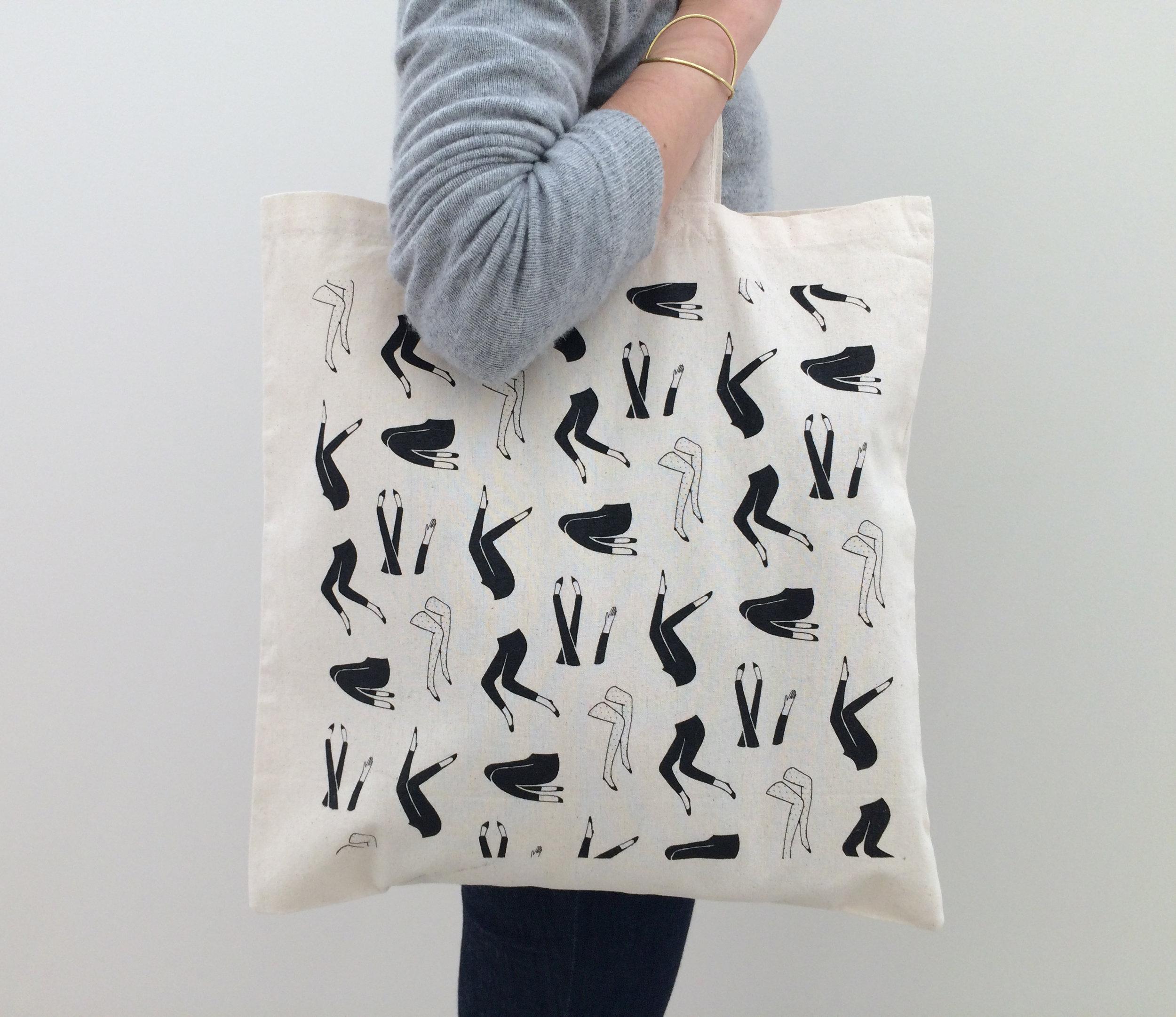 Screen printed tote bag.
