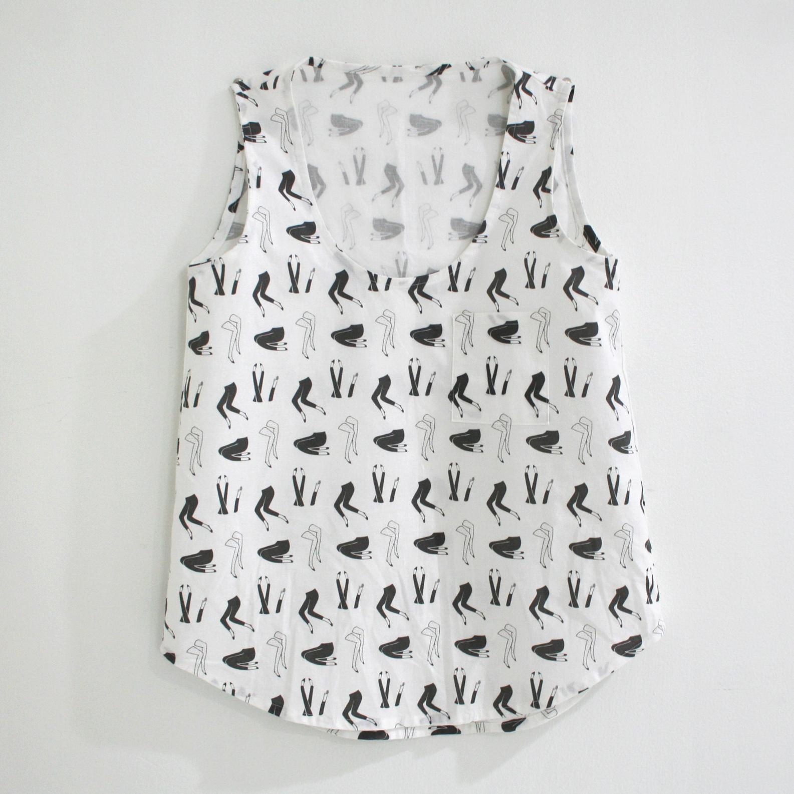 Tank top sewn from custom-printed fabric.