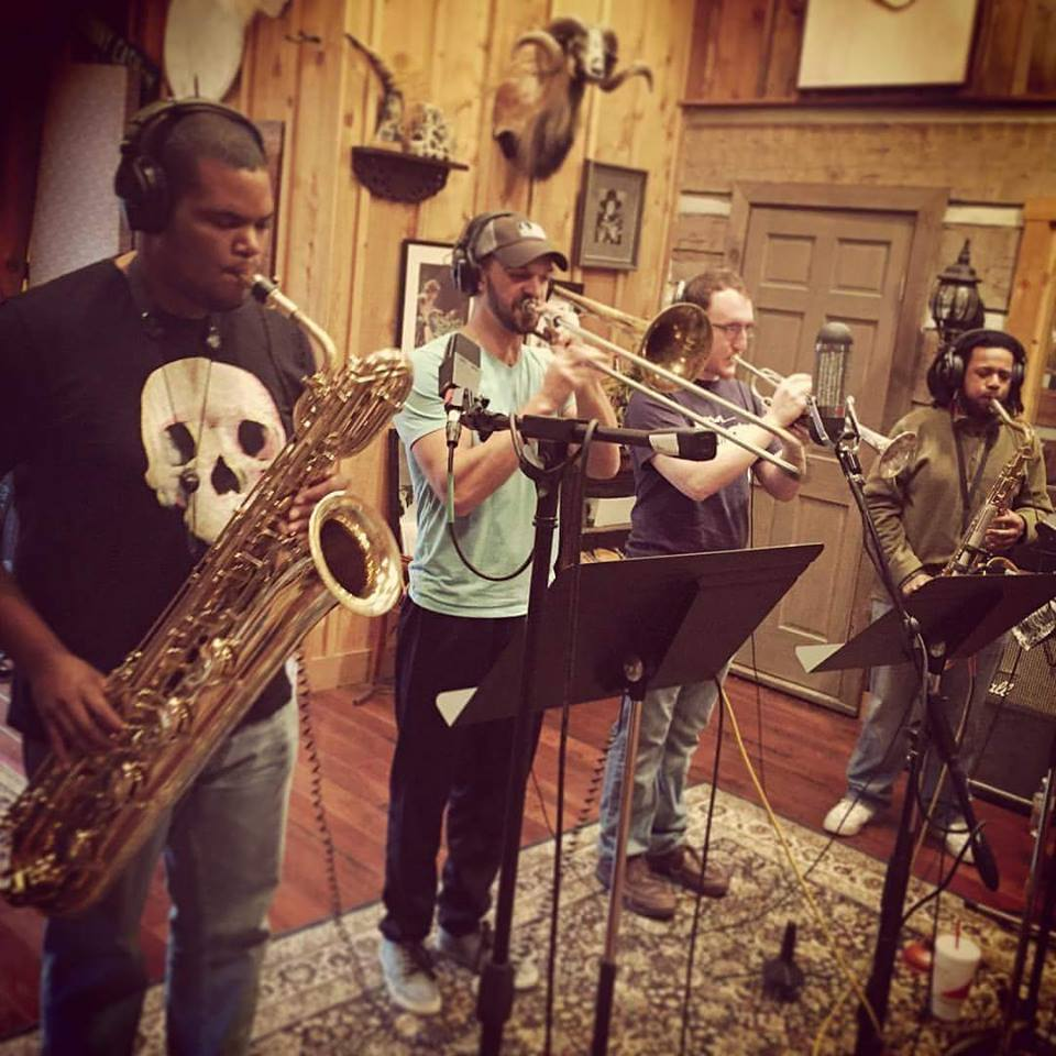 Vernon James, Corey Fritz, Elijah Hall, Stefan Forbus recording at Cash Cabin.