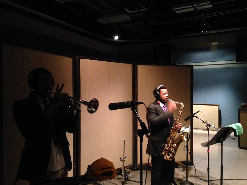 Fredrick Weathersby, Stefan Forbus recording at MTSU Studio A.