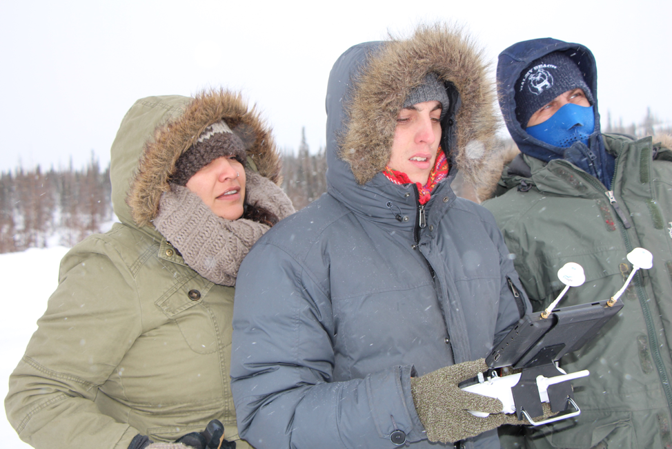 Drone's up!! Co-Director Helen Haig-Brown, Director of Photography Shane Belcourt and Drone Operator/Sound Guy Tony Wallace watching and guiding the action. High winds, temperature way below zero. Battery life is limited but the footage is beautiful.