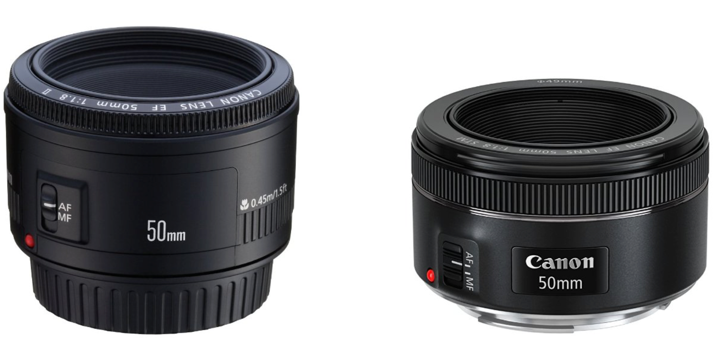 Canon 50mm f/1.8 II on left (discontinued but still available for  $125 at Amazon ), newer Canon 50mm f/1.8 STM  [ B&H | Amazon ] on right, also $125.