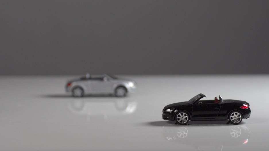 1/43 scale  Audi TT roadster first generation  on left; second generation on right. Yep, I'm a recovering car guy, too.