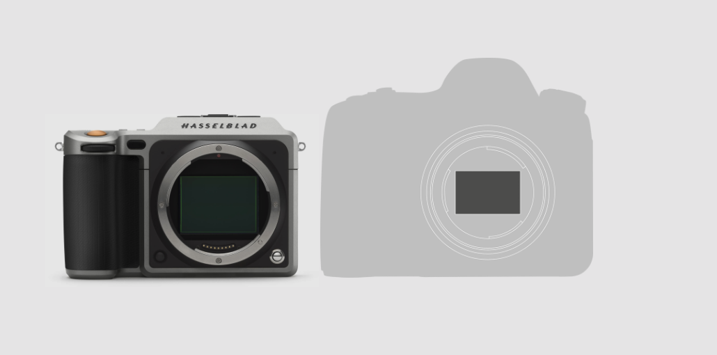 I'm pretty sure that's a Canon 5D in silhouette. The message? Big sensors rule, and Hasselblad has figured out how to put it into a dramatically smaller form factor than the usual DSLR suspects. Subtext: you have an alternative to Canikon. Sub-sub-text: we want new Hasselblad shooters.