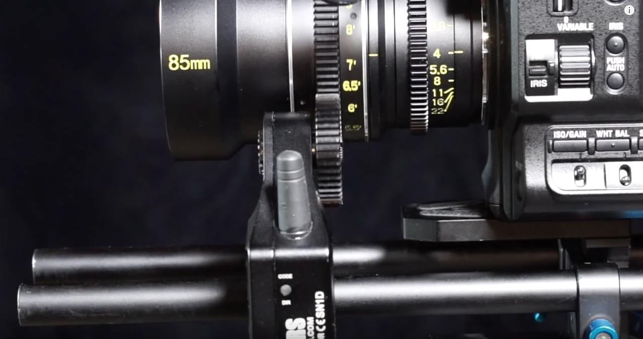 Sony FS5  with  Veydra 85mm T/2.2 in E-Mount  with  Cinegears  wireless follow focus. The  FOTGA  was just a little too bendy, a little too...scary to try this again. Love the camera and the lens, though.