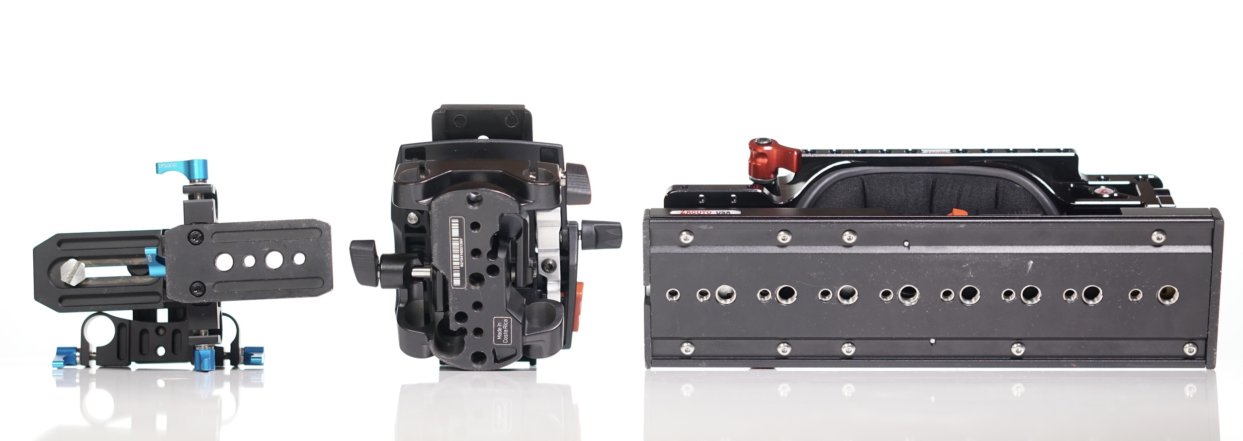 Left to right:  FOTGA ,  Sachtler  and  Zacuto . Increasing number of mounting points, larger surface area to spread the weight.