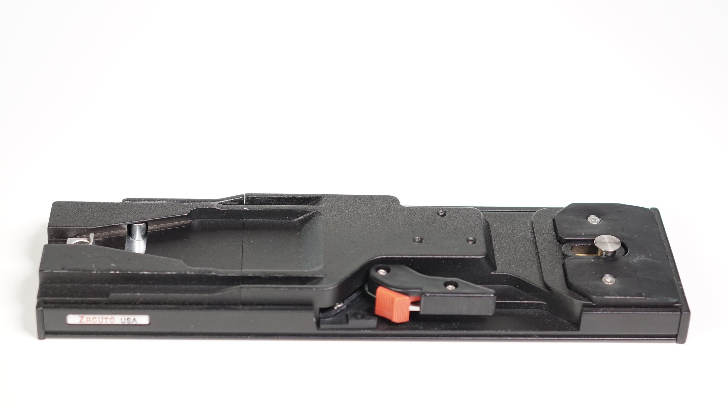 This is the  Zacuto VCT Tripod Plate . It makes standard quick release clamps look inadequate. Go back up to the first or second photo in the article to see just how big this sucker is.