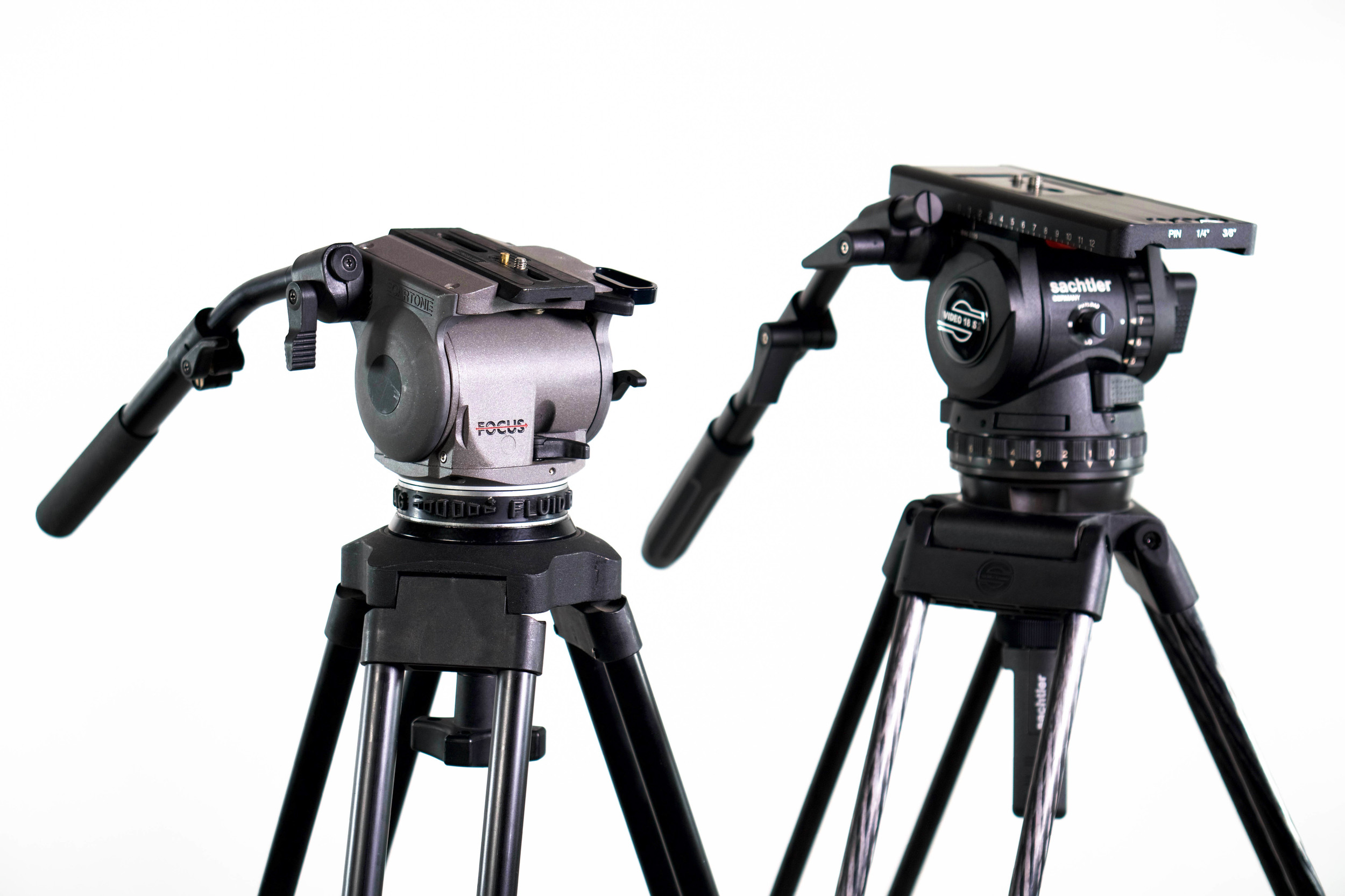 On the left, my Cartoni Focus; on the right, the Sachtler Video 18 S2. Both are great for their intended purpose, but the Sachtler aims higher.
