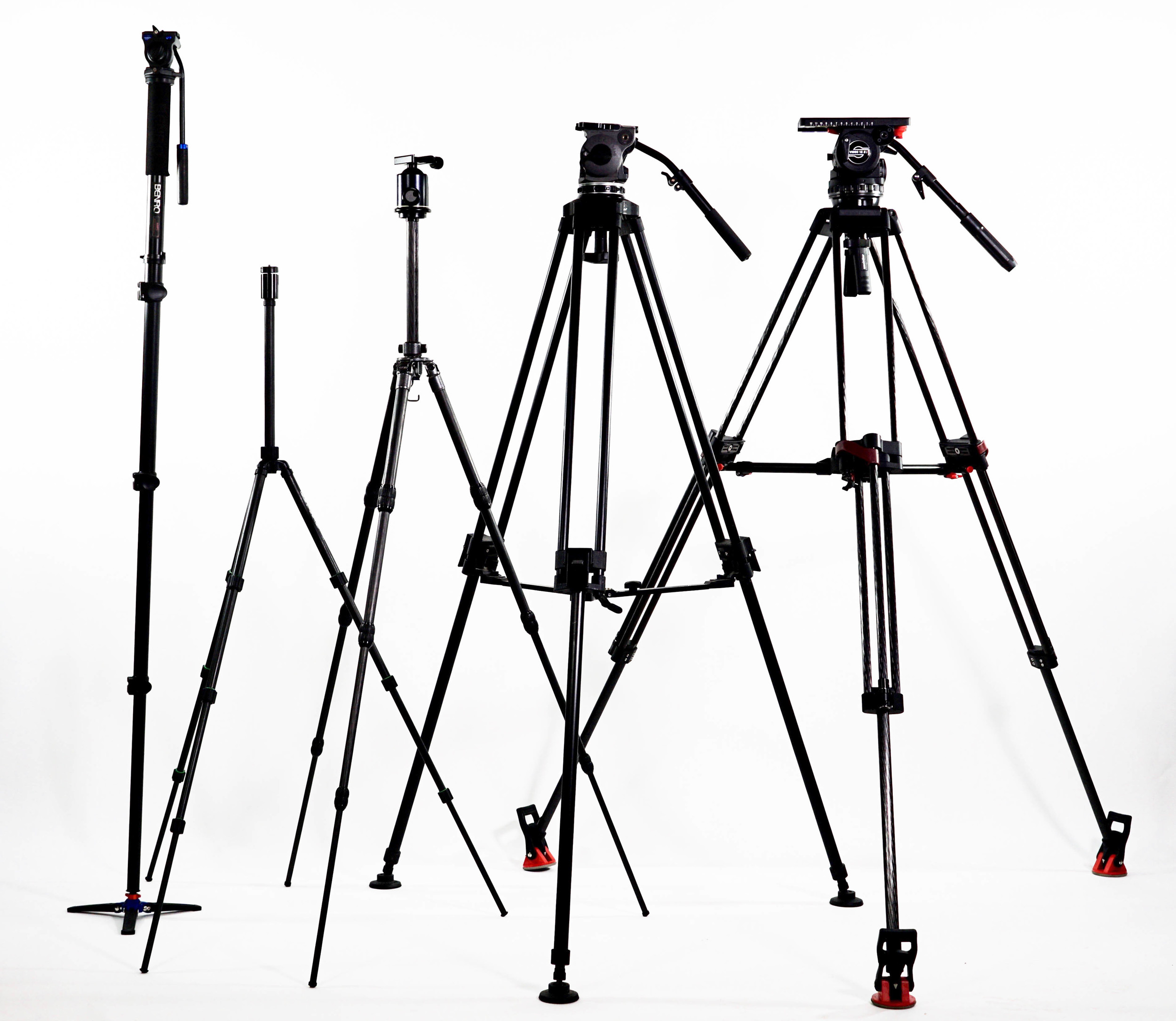 From left to right:  Benro A48FD monopod  with  S2 head (well under $200 for the pair),old Cullman aluminum tripod with integrated mini ball head (closest thing to it still in production is probably the  $80 Cullman Nanomax with Ball Head ),Gitzo G1128 Mk II Carbon Fiber tripod (closest thing to it in current production is the  GT2542 Mountaineer at   $869 )with Arca-Swiss Monoball Head ( $320 at B&H ), Sachtler Video 18 S2 atop Sachtler Speed Lock CF (100) legs, (s et for $8,010 at B&H ). I use the Gitzo/Arca-Swiss and/or Cartoni Focus to shoot most of my reviews or out in the field and the Benro when covering live events. I recently handed down the Cullman -- super light-weight and compact, perfect for iphoneography --to one of my children.