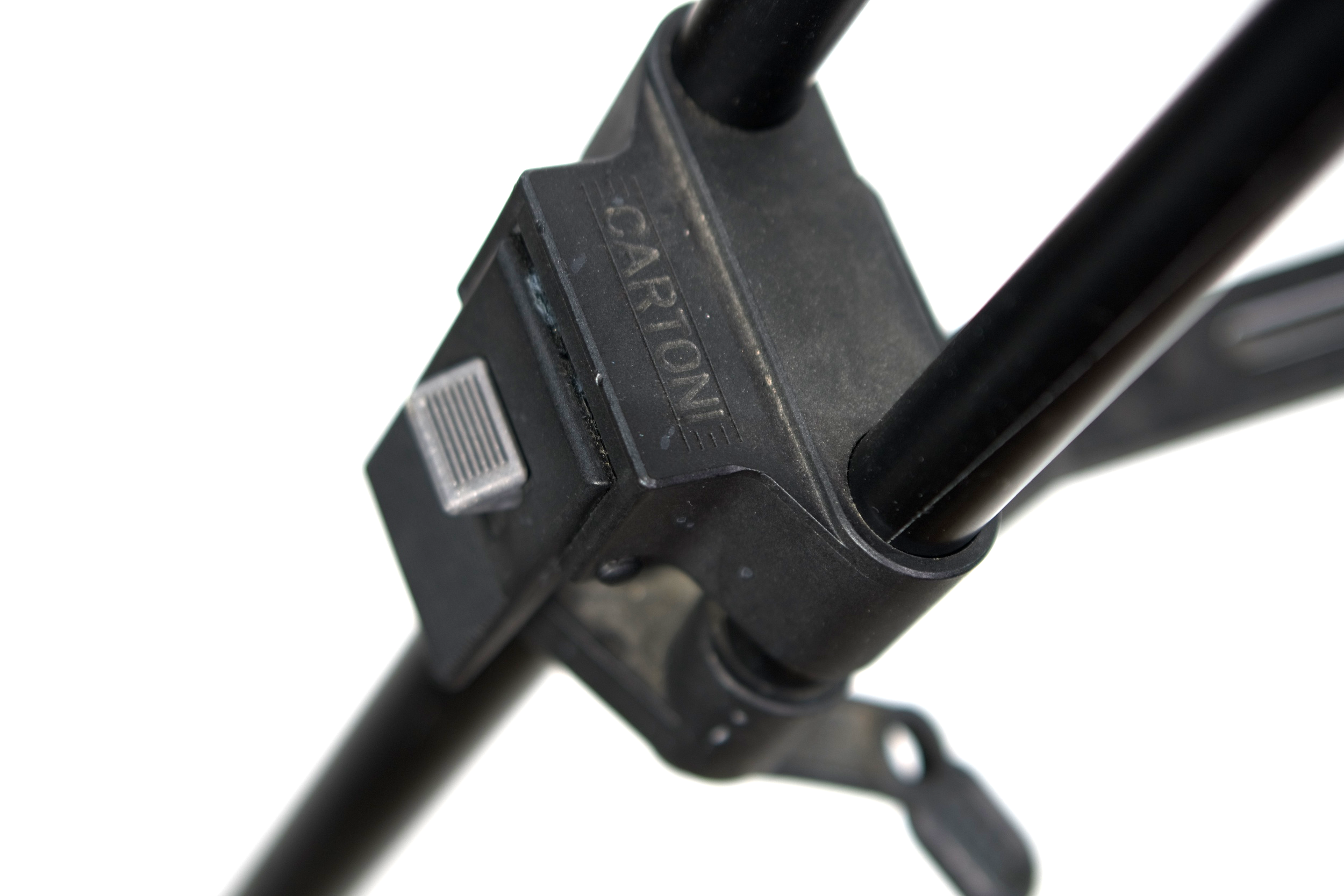 The Cartoni's leg locking mechanism is a bit different, but I've grown to like it. The lever hinges up/down rather than left/right as in every other lever locking tripod I've ever seen.