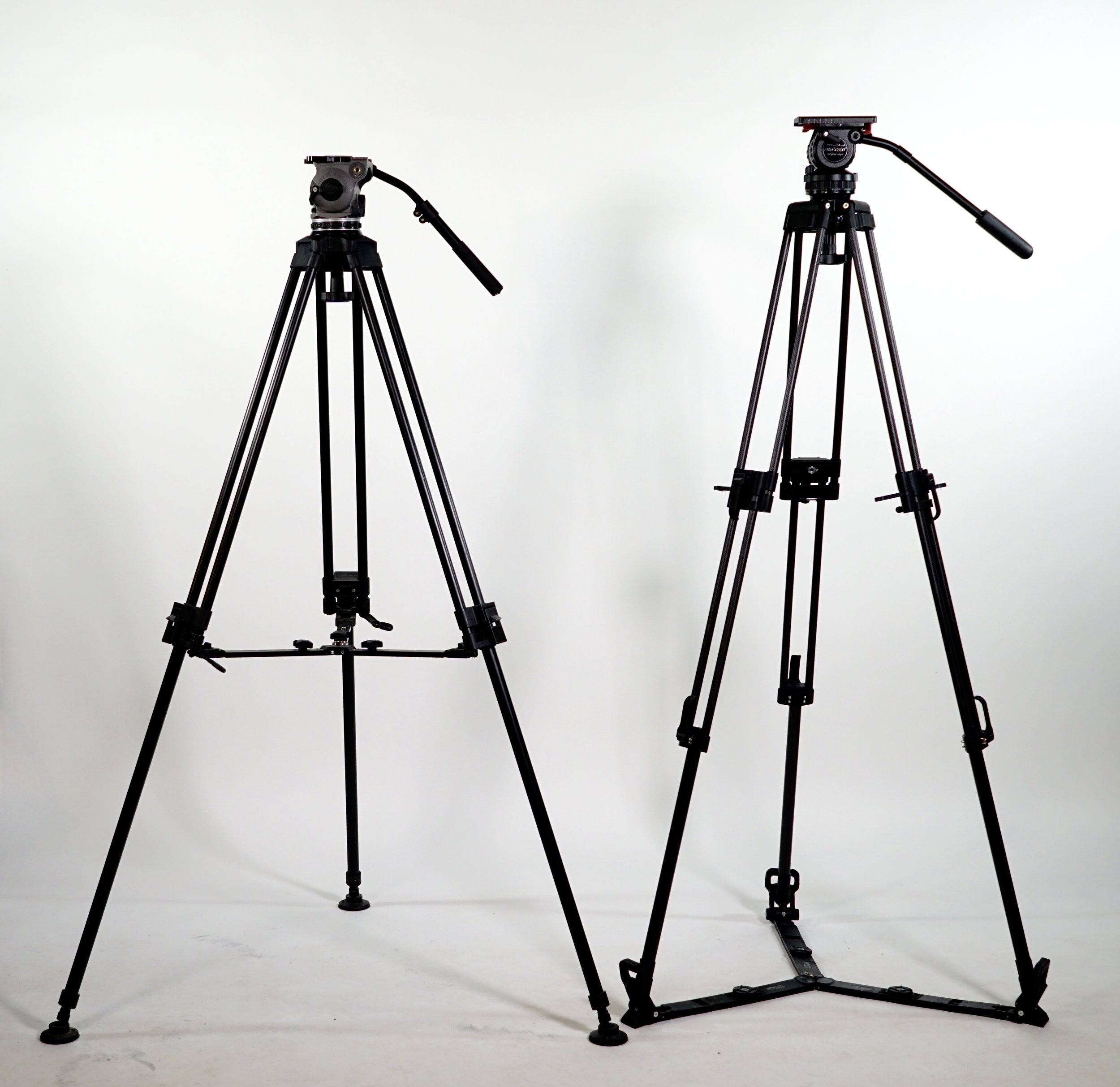 Secced Reach Plus 1 tripod kit on the right; my Cartoni Focus HD on the left. Similar, but very different. the Secced can also be had with a mid-level spreader which definitely stiffens the upper stage when extended to maximum height.