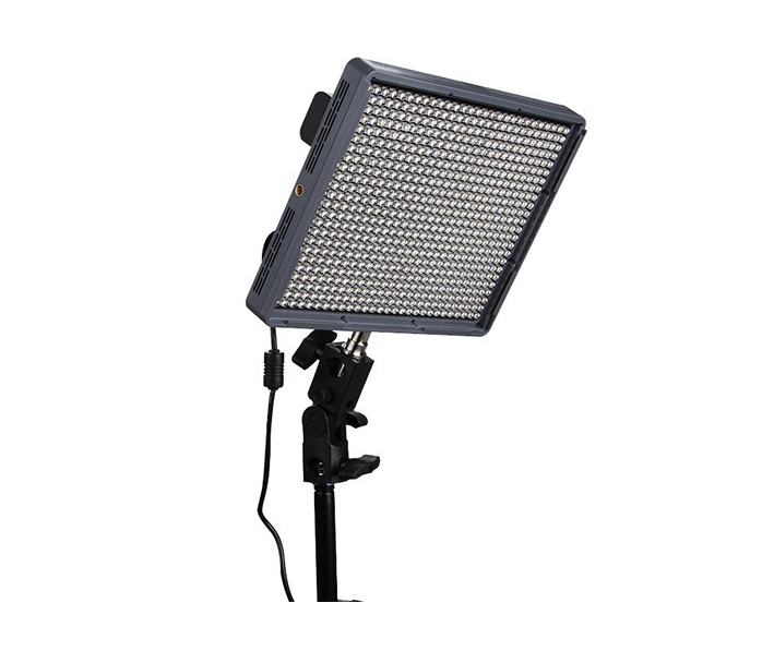 Aputure's Amaran HR672C is one the best values in LED panels on the market today. I measured 1,280 lux from a distance of 1 meter at 4100K (640 lux at 3,200K)with very high CRI (95+, just as claimed), yet the complete kit including batteries, power brick, light stand clamp, remote and case is just $299   [ B&H | Amazon ]  .