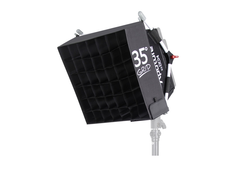 Aputure EZ Box with grid  designed specifically for the Amaran LED panel,  $55   [ B&H | Amazon ]. The 'box is pretty well permanently attached to my HR672C because it works AND because it's a pain to take down and set up.