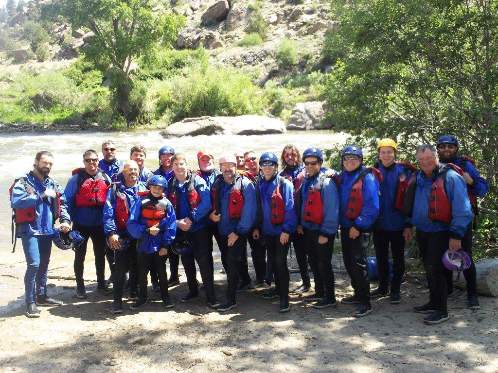 "2016 PaulAnn Church ""Man Camp"" group whitewater rafting in Salida, CO"