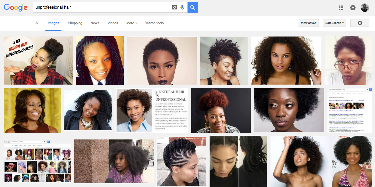 """Google images search """"unprofessional hair"""""""