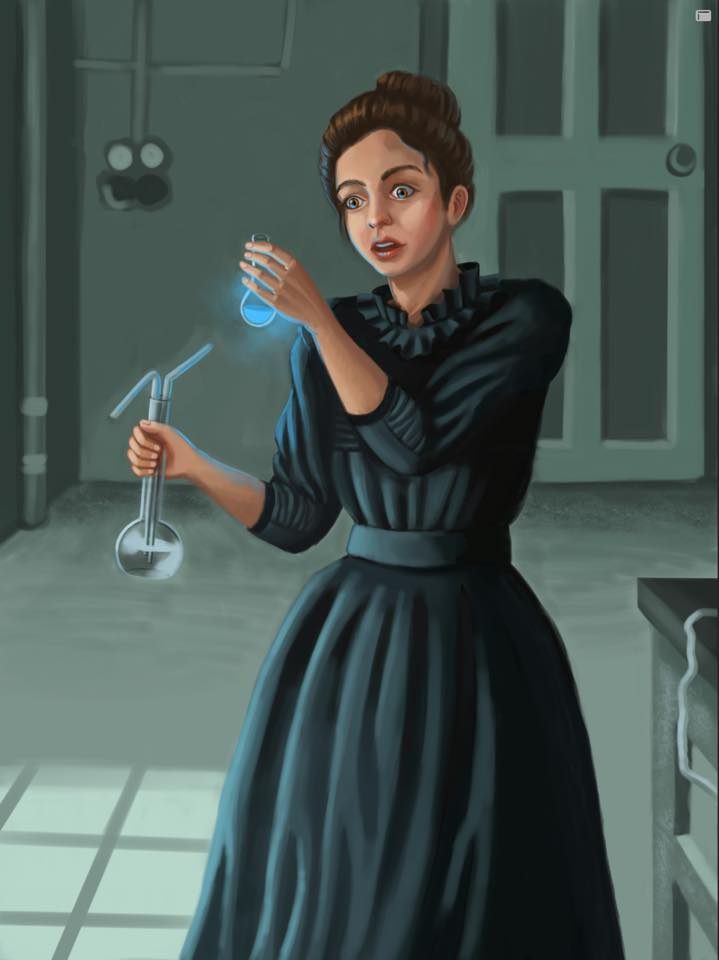The first version of my Marie Curie illustration before researching. The background is pretty lame, don't you think?