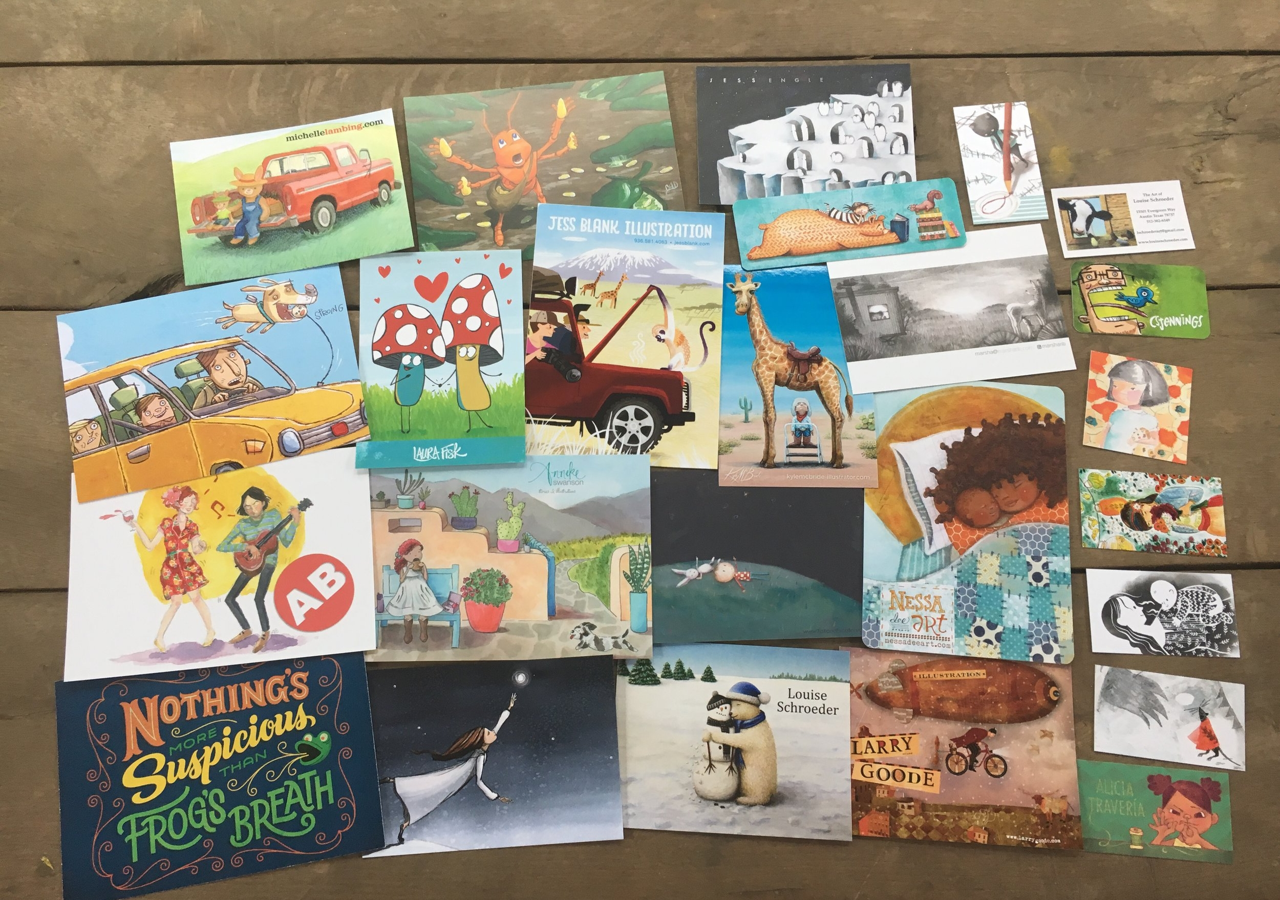 My postcard collection from the talented illustrators who were in the Portfolio Showcase.