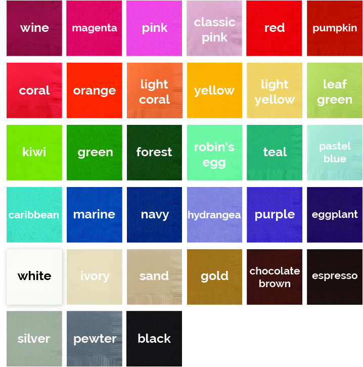 Available napkin colors