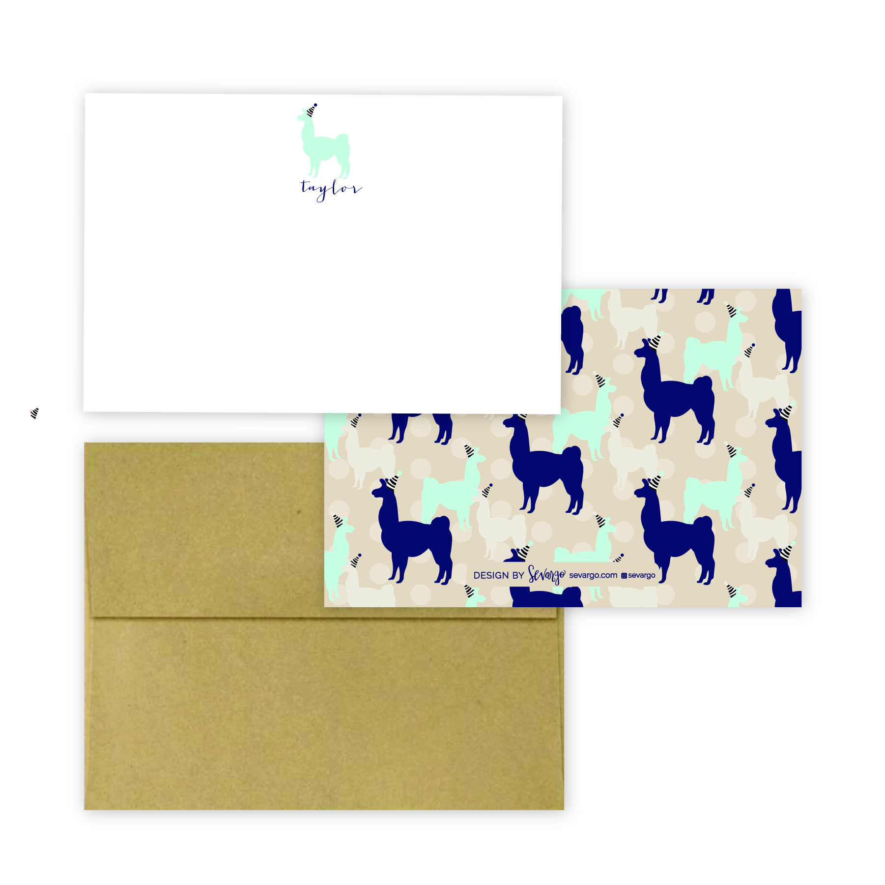 Navy and tan llama stationery-02.jpg