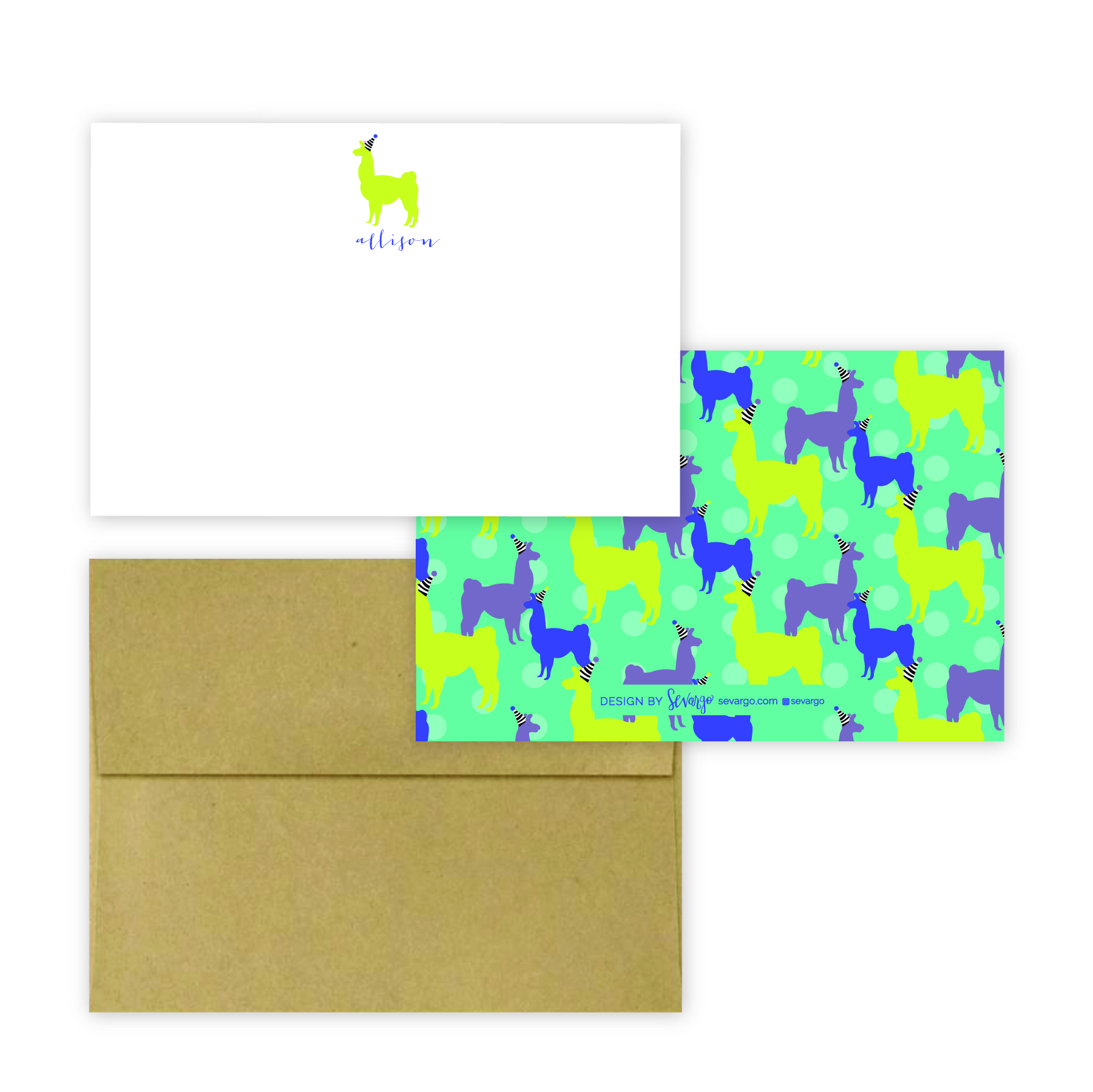 Lime and teal llama stationery-03-03.jpg