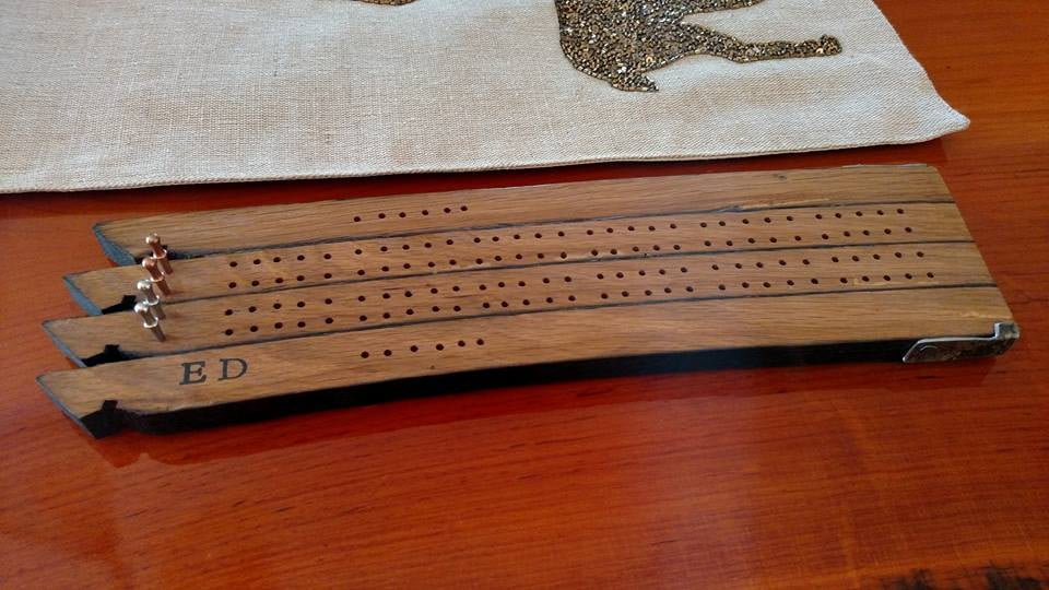 Barrel Stave Cribbage board