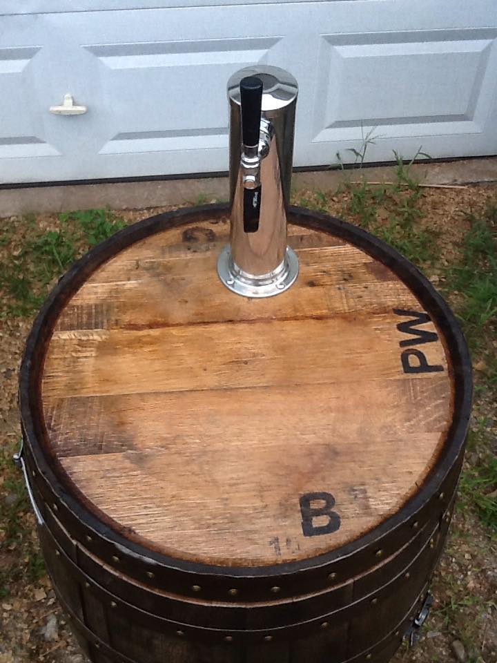 Pierce's Workshop Whiskey Barrel Kegerator