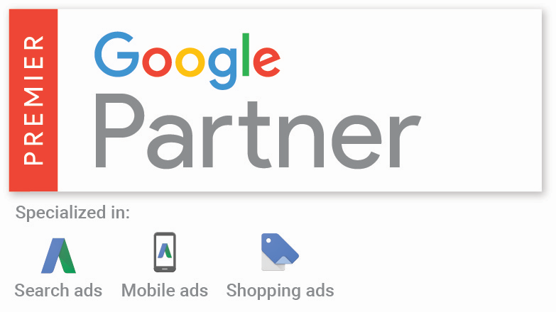 SalesX Google Premier Partner Badge with AdWords Specializations