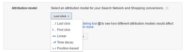 Drop down menu showing attribution models available in AdWords conversion interface