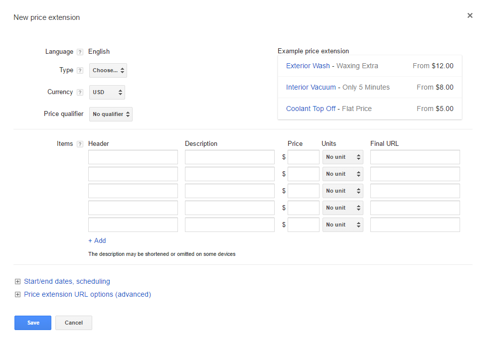 The price extension template in the AdWords interface