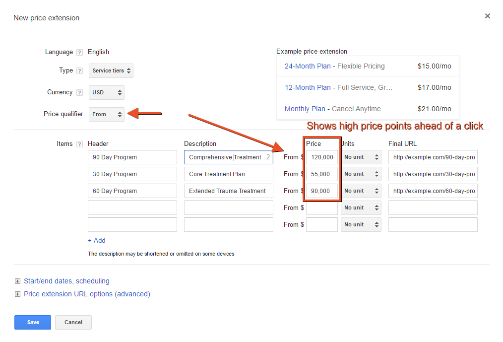 Price extension success story showing setup for high-price point AdWords advertiser