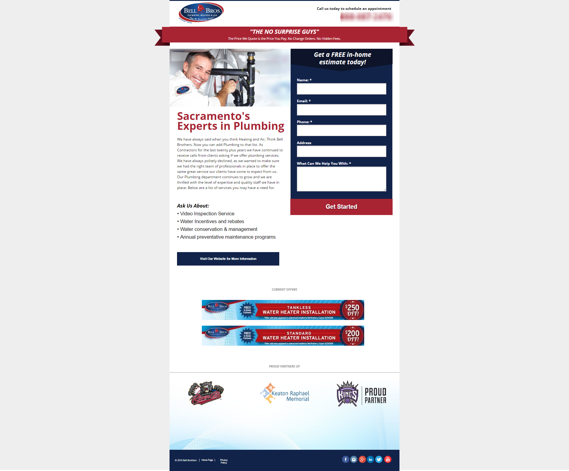 Landing page development example of a plumbing and HVAC PPC AdWords account advertiser