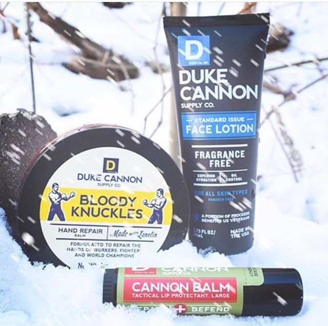 This cold weather, y'all! ❄️🌨💨 My guy loves these @dukecannon products, but I sure do too. •The Bloody Knuckles is absolutely my favorite hand cream. •The chapstick is HUGE + very smooth and refreshing. •Shop husband likes how hydrating the face lotion is, especially after his workouts.