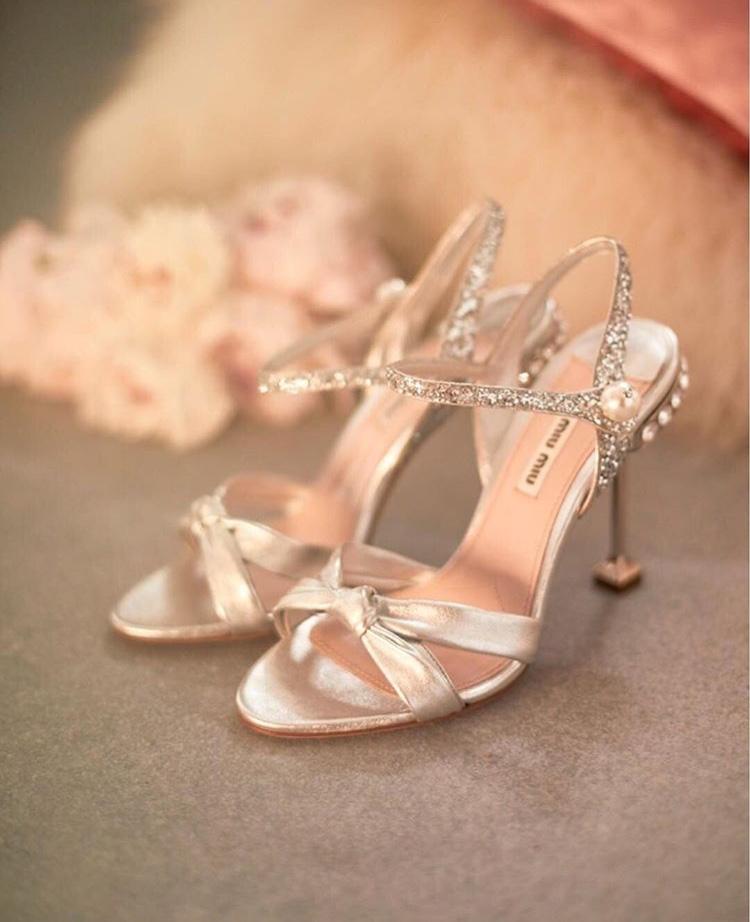 Miu Miu Glitter & Pearl Sandals